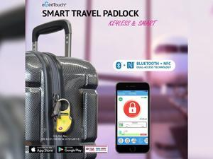 eGeeTouch® Smart Travel Padlock with Patented Dual Access Technologies (NFC + BT), Vicinity Tracking, etc. (BLACK)