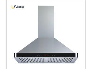 "Winflo New 30"" Wall Mount Stainless Steel Ducted/Ductless Kitchen Range Hood with 450 CFM Air Flow LED Display Touch Control Included Dishwasher-Safe Stainless Steel Baffle Filters and LED Lights"