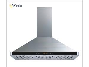 "Winflo New 36"" Wall Mount Stainless Steel Ducted/Ductless Kitchen Range Hood with 450 CFM Air Flow LED Display Touch Control Included Dishwasher-Safe Stainless Steel Baffle Filters and LED Lights"