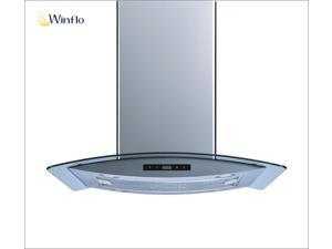 "Winflo 36"" Island Stainless Steel/Arched Tempered Glass Ducted/Ductless Kitchen Range Hood with 450 CFM Air Flow LED Display Touch Control Included Dishwasher-Safe Aluminum Filters and 4x2W LED Lights"