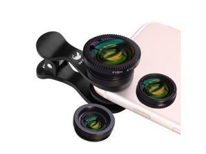 Oldshark 3 in 1cellphone camera lens Clip-On 180 Degree Fisheye Lens+10X Macro Lens+0.65X Wide Angle Lens for iPhone iPad Android Devices Black