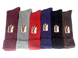 Lian LifeStyle Women's 6 Pairs Pack Knee High Wool Socks Size 7-9 6 Colors