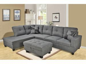 "Beverly Furniture contemporary sectional sofa set come with one free storage ottoman and 2 square pillows. Sectional sofa overall dimension is approximately: 103"" x 75"" x 33"" high"