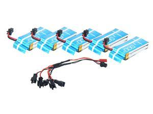 Upgrade RC Part 5 pcs 7.4V 650mAh Lipo Battery KH8C-03(VA27) and DYX-009 Cable for JJRC H8C H8D DFD F182 F183 RC Quadcopter