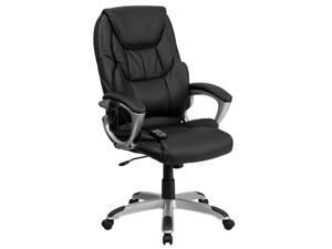 flash furniture high back massaging black leather adjustable executive office chair