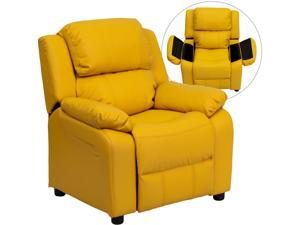 Deluxe Heavily Padded Contemporary Yellow Vinyl Kids Recliner with Storage Arms [BT-7985-KID-YEL-GG]