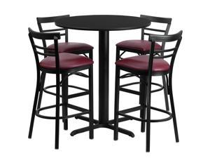 Flash Furniture 24'' Round Black Laminate Table Set with 4 Ladder Back Metal Bar Stools - Burgundy Vinyl Seat [HDBF1037-GG]