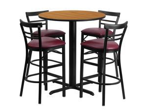 Flash Furniture 24'' Round Natural Laminate Table Set with 4 Ladder Back Metal Bar Stools - Burgundy Vinyl Seat [HDBF1039-GG]
