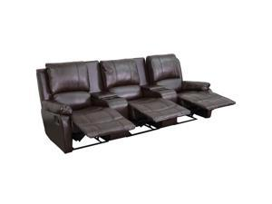 Flash Furniture Brown Leather Pillowtop 3-Seat Home Theater Recliner With Storage Consoles [BT-70295-3-BRN-GG]