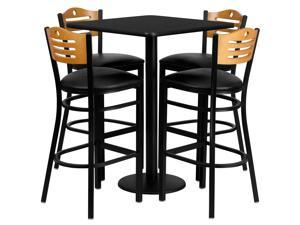 "Flash Furniture 30"" Square Black Laminate Table With 4 Ladder Back Metal Restaurant Bar Stool Set Black Vinyl Seat"