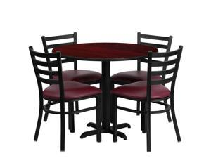 Flash Furniture 36'' Round Mahogany Laminate Table Set with 4 Ladder Back Metal Chairs - Burgundy Vinyl Seat [HDBF1006-GG]