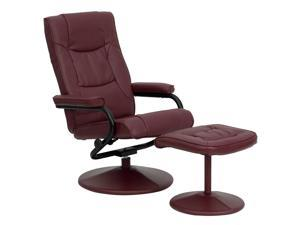 Contemporary Burgundy Leather Recliner and Ottoman with Leather Wrapped Base By Flash Furniture