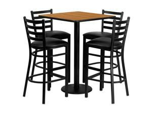 Flash Furniture 30'' Square Natural Laminate Table Set With 4 Ladder Back Metal Bar Stools - Black Vinyl Seat [MD-0012-GG]