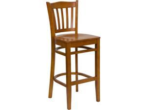 HERCULES Series Cherry Finished Vertical Slat Back Wooden Restaurant Barstool