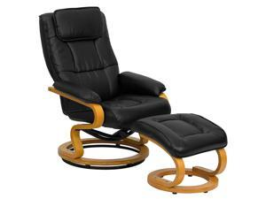 Contemporary Black Leather Recliner and Ottoman with Swiveling Maple Wood Base By Flash Furniture