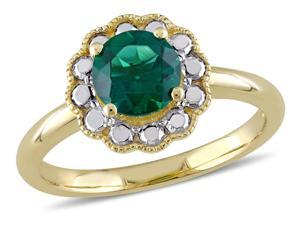 Solitaire Created Synthetic Emerald Ring 1.00 Carat  #40;ctw #41; in 10K Yellow Gold