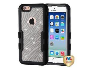For iPhone 6/6S Natural Black Clear Black Zebra Skin Full Glitter TUFF Case