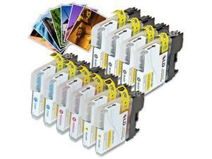 LD © Brother Compatible LC61 Bulk Set of 10 Ink Cartridges: 4 Black LC61BK  & 2 each of Cyan LC61C / Magenta LC61M / Yellow ...