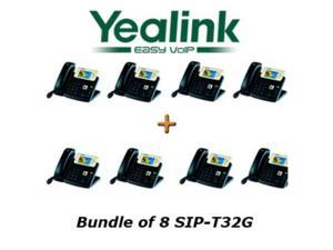 Yealink SIP-T32G Bundle of 8 Gigabit Color VoIP Phone No Power Supply