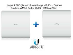 Ubiquiti PBM5 2-pack PowerBridge M5 5GHz 500mW Outdoor airMAX Bridge 25dBi 20km
