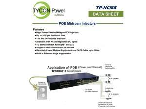 Tycon Power TP-NCMS412-24 - Gigabit POE Midspan AC/DC 12 Port  24V
