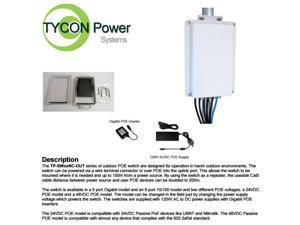 Tycon Power TP-SW8NC-OUT24 -  8 Port 24VDC Passive POE 10/100 Outdoor Switch