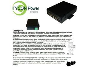 Tycon Power TP-SW5G 5 - 5 Port High Power  POE Gigabit Switch with power supply