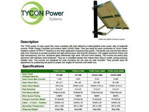 Tycon Power Systems TPSK12-70W 70W 12V Solar Kit: 70W 12V Panel, Pole Mount