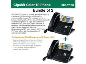 Yealink SIP-T32G Bundle of 2 Gigabit Color LCD IP Phone 3 lines PoE XML Browser