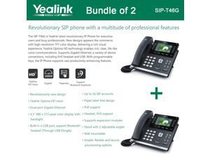Yealink SIP-T46G Bundle of 2 IP phone Dual Gigabit 16 Line PoE 4.3 Color LCD USB