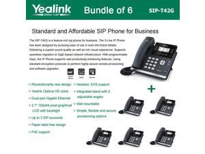 Yealink SIP-T42G Bundle of 6 Dual Gigabit IP Phone 12-Line HD voice PoE LCD XML
