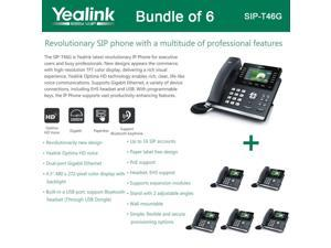 Yealink SIP-T46G Bundle of 6 IP phone Dual Gigabit 16 Line PoE 4.3 Color LCD USB