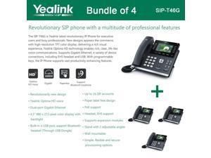 Yealink SIP-T46G Bundle of 4 IP phone Dual Gigabit 16 Line PoE 4.3 Color LCD USB