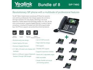 Yealink SIP-T46G Bundle of 8 IP phone Dual Gigabit 16 Line PoE 4.3 Color LCD USB