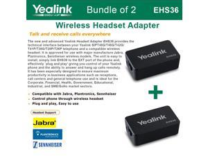 Yealink EHS36 Bundle of 2 IP Phone Wireless Headset Adapter Plug and Play