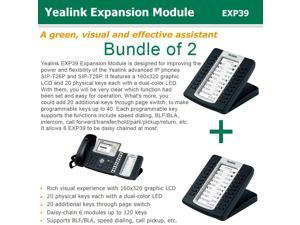 Yealink Bundle of 2 EXP39 LCD Expansion Mod, Comp. to SIP-T29G/T28P/T27P/T26P