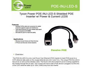 Tycon Power POE-INJ-LED-S POE Inserter Power POE power CAT5 ethernet cable