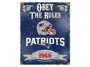 "Party Animal Patriots Vintage Metal Sign - 1 Each - Obey The Rules Print/Message - 11.5"" Width x 14.5"" Height - Rectangular Shape - Heavy Duty, Embossed Lettering, Rivet - Steel"