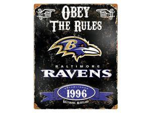 "Party Animal Ravens Vintage Metal Sign - 1 Each - Obey The Rules Print/Message - 11.5"" Width x 14.5"" Height - Rectangular Shape - Heavy Duty, Embossed Lettering, Rivet - Steel"
