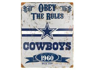 """Party Animal Cowboys Vintage Metal Sign - 1 Each - Obey The Rules Print/Message - 11.5"""" Width x 14.5"""" Height - Rectangular Shape - Heavy Duty, Embossed Lettering, Rivet - Steel"""