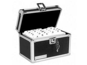 Vaultz Locking Index Card File with Flip Top Holds 350 3 x 5 Cards Black