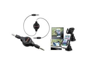 eForCity Black Universal Suction Mount In Car Phone Holder + Black Retractable 3.5mm Audio Extension Cable M/M For Samsung© Galaxy S 2 i9100 SIV S4 i9500