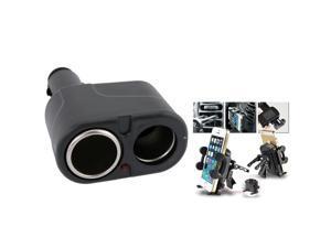eForCity Black Universal Car Air Vent Phone Holder + Black Two-Way Car Cigarette Lighter Socket Splitter For iPhone 5 3 G 3GS