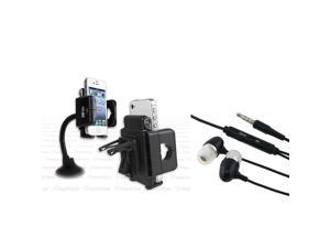 eForCity In Car Holder Mount + Black Headset Compatible With Samsung© Galaxy S3 i9300 S4 IV i9500 i8190