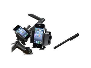 eForCity Black Bike Handle Holder Stand + Black Stylus Compatible with Samsung© Galaxy S3 i9300 S4 i9500
