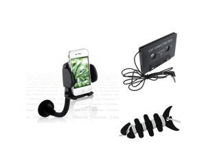 eForCity Mount + Audio Tape Adapter + Fishbone Wrap Compatible with Samsung Galaxy S3 i9300 S4 i9500