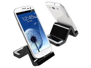 eForCity Micro USB S Shape Cradle, Black Compatible With Samsung Galaxy Tab 4 7.0 / 8.0 / 10.1