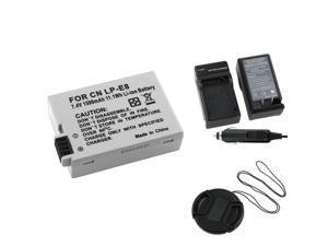 eForCity Compact Battery Charger Set + Gray Canon LP-E8 Compatible Li-ion Battery + Black 58 mm Camera Lens Cap Bundle For Canon EOS 550D 600D Digital Rebel T3i T2i