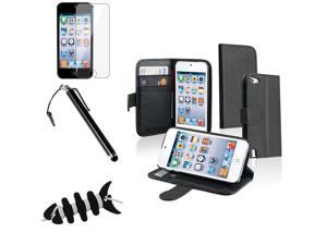 Apple iPod Touch 5th Gen/6th Gen Case, eForCity Stand Folio Flip Leather [Card Slot] Wallet Flap Pouch Case Cover Compatible With Apple iPod Touch 5th Gen/6th Gen, Black