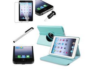 eForCity Light Blue 360-degree Swivel Leather Case + Black Plug Cap + Black Headset Dust Cap w/ Eject Pin Bundle for Apple iPad Mini 1 / Apple iPad Mini 2 / iPad Mini with Retina Display (iPad Mini 3)